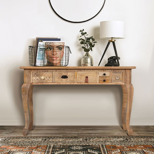 FOA51004 Bungalow rose lynchburg Blanchefleur weathered rustic natural tone finish wood console sofa table