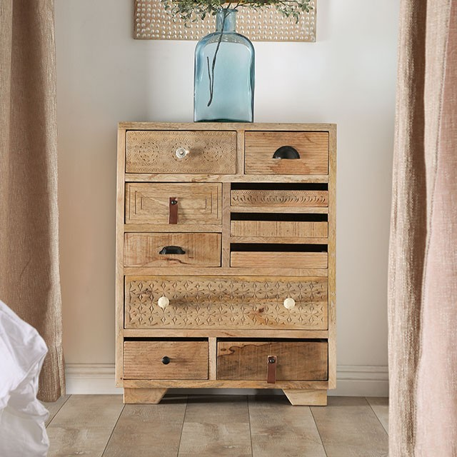 FOA51012 East urban home asuncion Blanchefleur weathered rustic natural tone finish wood chest with drawers
