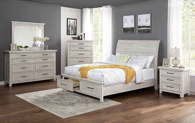 FOA7924 5 pc Rosdorf park shawnette antique white finish wood curved plank design queen bedroom set