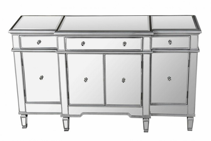 Best Master FRA2011Sideboard Silver finish wood and mirrored panels sideboard console hall table