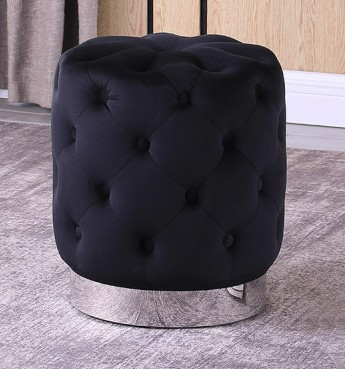Best Master JO002-BK Dalvik black velour fabric round tufted ottoman footstool with stainless steel trim