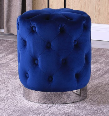Best Master JO002-BL Dalvik blue velour fabric round tufted ottoman footstool with stainless steel trim