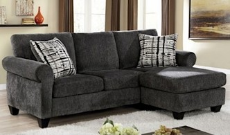 CM6211 2 pc Hokku designs nerissa Jordanna gray soft weave knit fabric sectional with reversible chaise
