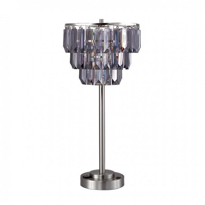 L76937T Meg black chrome metal transitional style hanging crystal table lamp