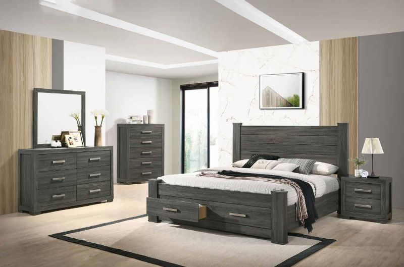 5 pc House of hampton smedley lisa gray finish wood queen bed set