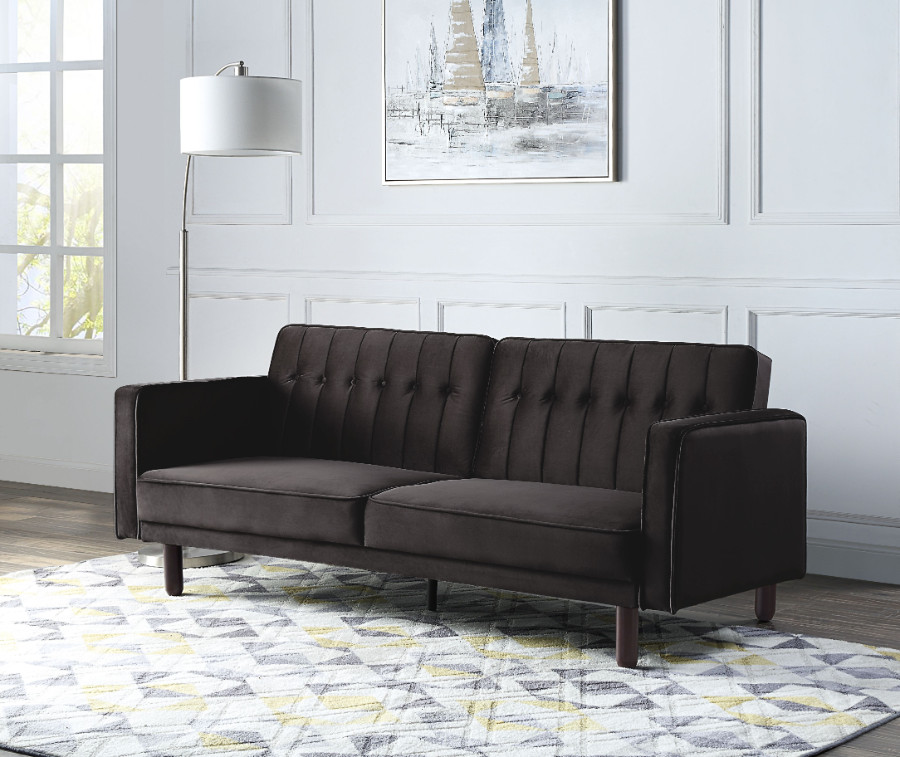 Acme LV00086 Ivy bronx qinven dark brown velvet tufted fabric adjustable sofa futon bed with arms