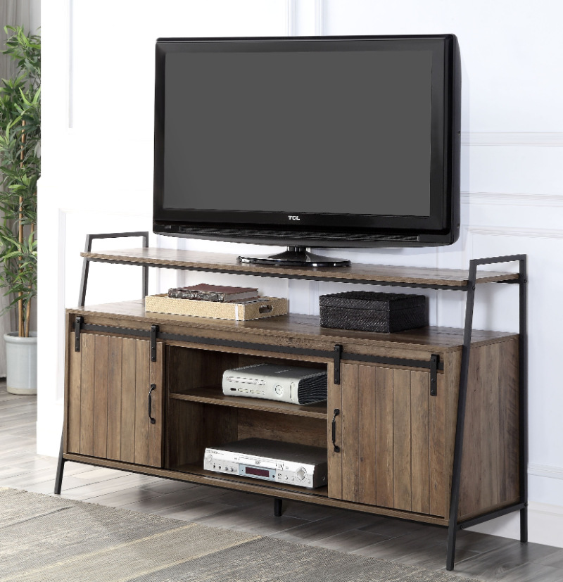 Acme LV00152 17 stories Rashawn mid century retro modern rustic oak driftwood multi tone finish wood tv stand black metal frame