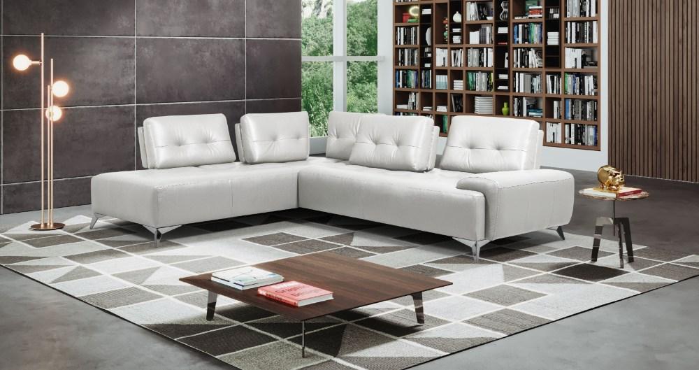 Acme LV00215 2 pc Orren ellis turano pearl white top grain italian leather sectional sofa set
