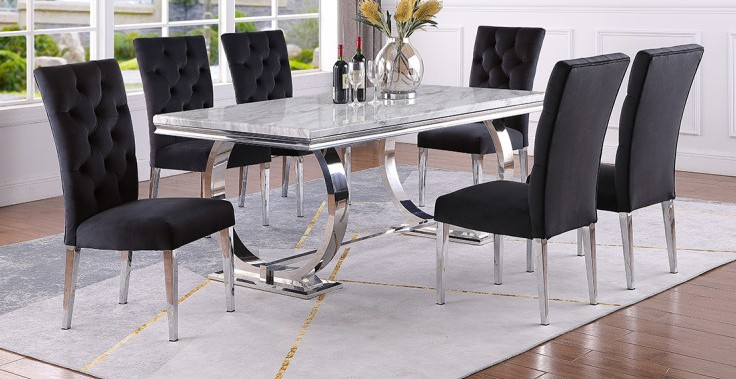 Best master LX01-BLACK-7PC 7 pc Broadway white high gloss faux marble top finish and chrome modern dining table set black chairs
