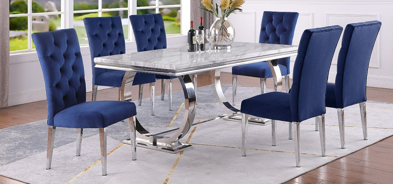 Best master LX01-BLUE-7PC 7 pc Broadway white high gloss faux marble top finish and chrome modern dining table set blue chairs