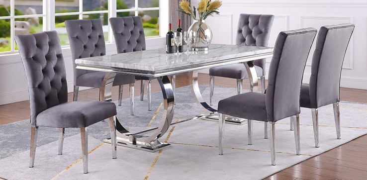 Best master LX01-GREY-7PC 7 pc Broadway white high gloss faux marble top finish and chrome modern dining table set grey chairs