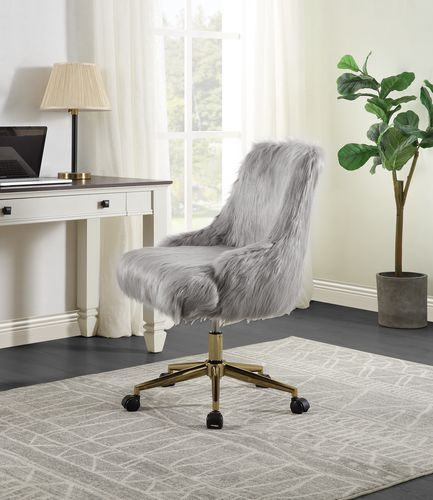 Acme OF00123 Everly quinn arundell II grey faux fur fabric office chair