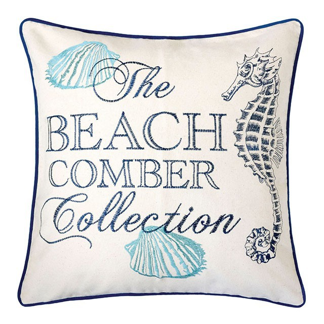 """PL8071 Set of 2 Katia beige and blue fabric nautical themed seahorse 20"""" x 20"""" throw pillows"""
