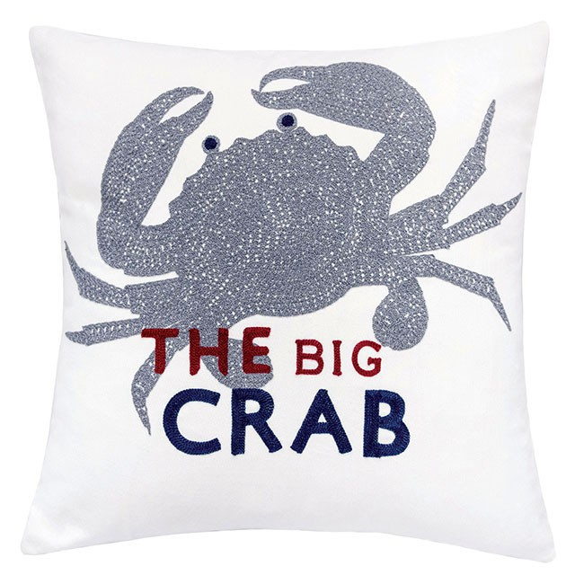 """PL8081 Set of 2 Jody white and blue fabric nautical themed crab 20"""" x 20"""" throw pillows"""