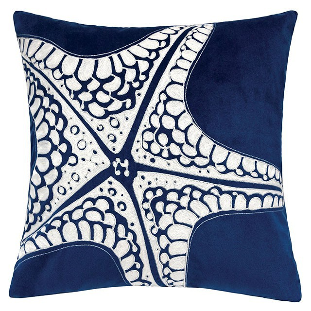 """PL8083 Set of 2 Jude white and blue fabric nautical themed starfish 20"""" x 20"""" throw pillows"""