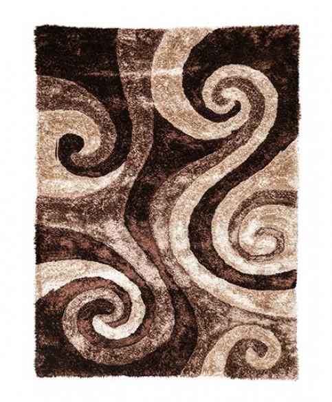 """RG5196 Fermont 1.3"""" thick brown beige swirl 3D design shag area rug"""
