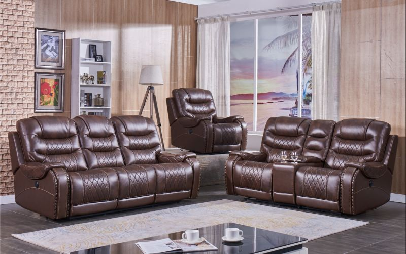 Mc-Ferran MF-SF1350-2PC 2 pc townsend brown leather aire power reclining sofa and love seat set