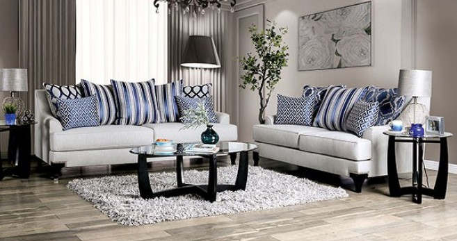 SM2207 2 pc Sisseton light grey chenille fabric sofa and love seat set