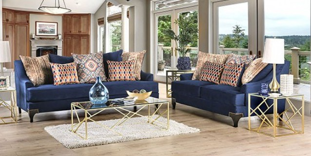 SM2210 2 pc Sisseton navy blue chenille fabric sofa and love seat set