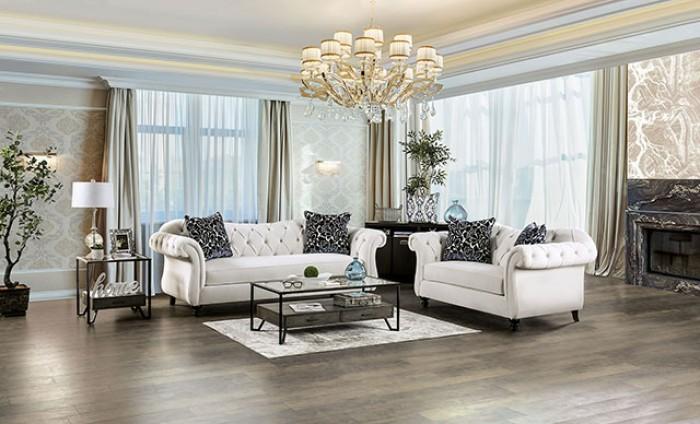SM2228 2 pc Rosorf park Antionette white velvet fabric sofa and love seat set tufted backs