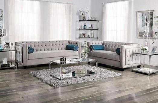 SM2283 2 pc House of hampton tuck silvan gray velvet like tufted fabric sofa and love seat set