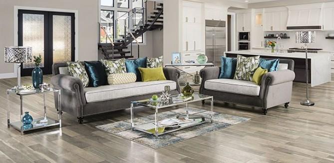 SM2286 2 pc Rosdorf park myra mariella gray plush microfiber fabric sofa and love seat set