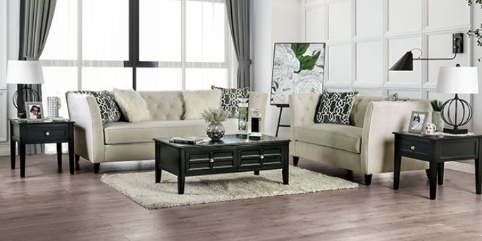 SM2665 2 pc Mercer41 ramage monaghan ivory chenille fabric sofa and love seat set tufted back