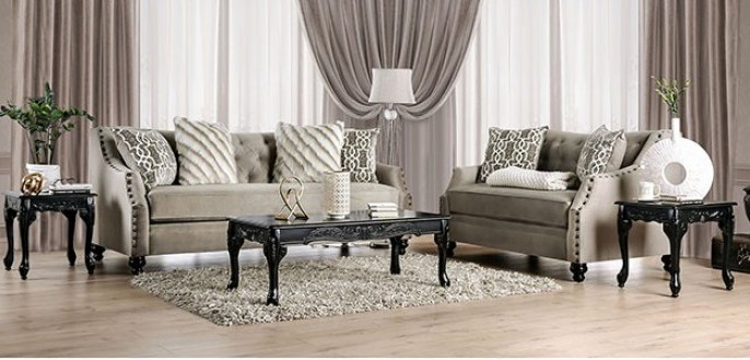 SM2668 2 pc Erzin light brown small weave chenille fabric sofa and love seat set