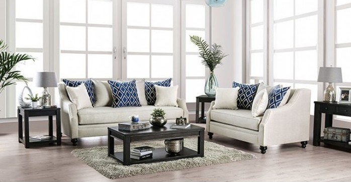 SM2669 2 pc Darby home Co. Nefyn ivory burlap weave fabric sofa and love seat set