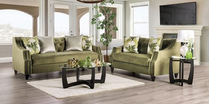 SM2684 2 pc Rosdorf park myra kaye green linen texture fabric sofa and love seat set