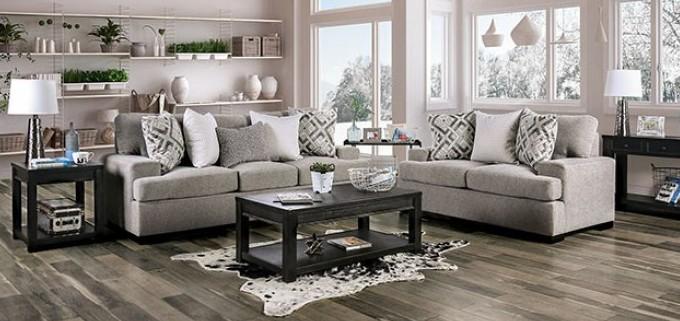 SM3084 2 pc Rosdorf park myra polly light gray plush microfiber fabric sofa and love seat set