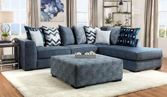 SM5146 2 pc Rosdorf park brielle blue microfiber sectional sofa with chaise