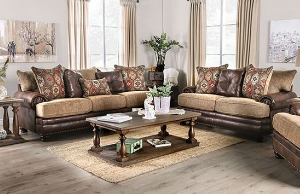 SM5148 2 pc Reyna brown leatherette and chenille sofa and love seat set