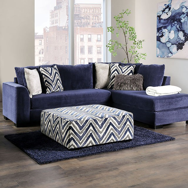 SM5151 2 pc Hokku designs griswold navy textured patterned fabric sectional sofa with chaise