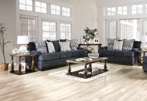 SM5157 2 pc Canora grey hadleigh navy blue chenille fabric sofa and love seat set