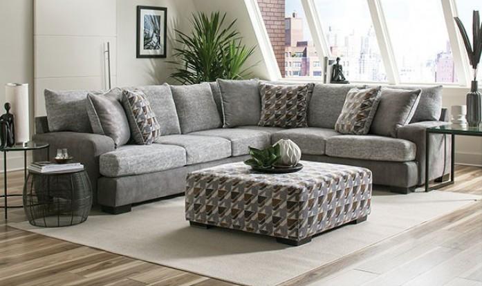 SM5184 2 pc Rosdorf park alannah two tone gray burlap weave fabric sectional sofa
