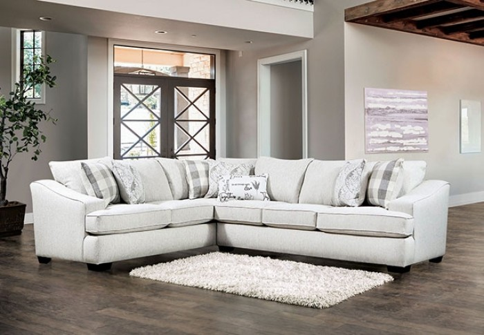 SM5401 2 pc Red barrel studio leamington ivory linen like fabric sectional sofa set with sloped arms