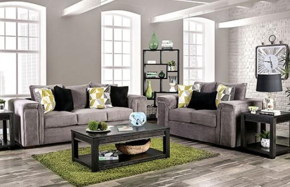 SM6154 2 pc Bradford warn gray chenille fabric sofa and love seat set