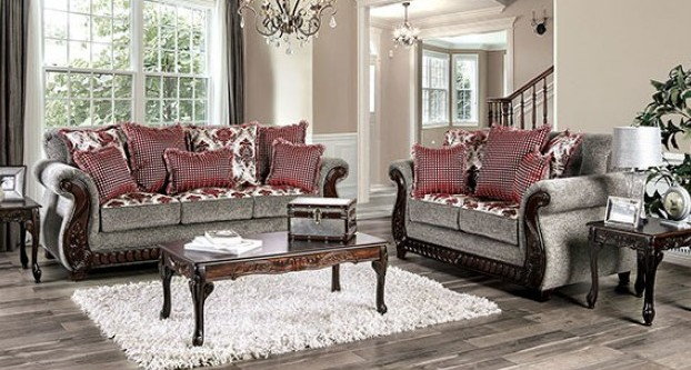 SM6219 2 pc Whitland red fabric sofa and love seat set rounded arms wood trim