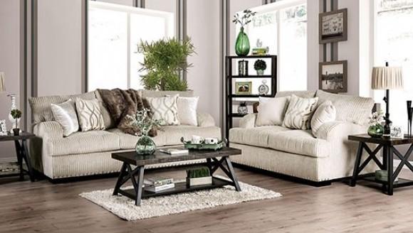 SM6223 2 pc Nefyn golden ivory chenille fabric sofa and love seat set