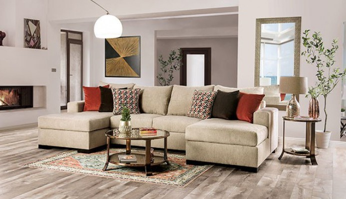 SM6225 3 pc Rosdorf park jayla beige fabric sectional sofa with double chaise