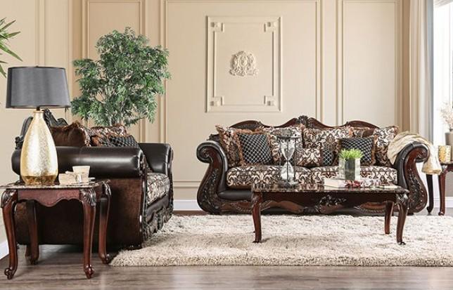 SM6405 2 pc Jamael tan/brown/silver fabric wood trim sofa and love seat set