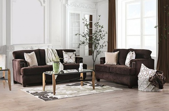 SM6410 2 pc Brynlee chocolate chenille fabric sofa and love seat set
