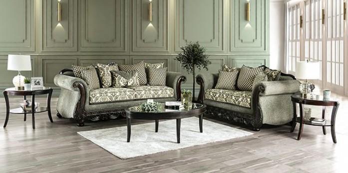 SM6422 2 pc Rosdorf park caldiran gray chenille espresso wood trim sofa and love seat set