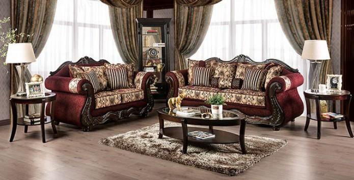 SM6433 2 pc Rosdorf park matteo burgundy chenille dark walnut wood trim sofa and love seat set