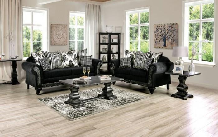 SM7746 2 pc Rosdorf park lucianon black chenille ebony wood trim sofa and love seat set