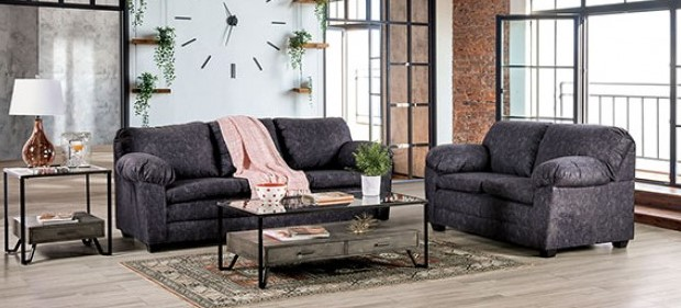 SM7754 2 pc Rosdorf park keswick charcoal fabric overstuffed arms sofa and love seat set