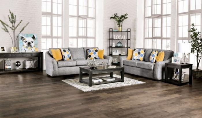 SM8001 2 pc Charlton home jarrow light gray linen like fabric sofa and love seat set