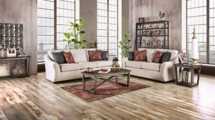 SM8003 2 pc Jarrow ivory linen like fabric sofa and love seat set