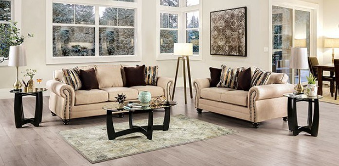 SM8008 2 pc Rosdorf park myra kailyn sand chenille fabric sofa and love seat set